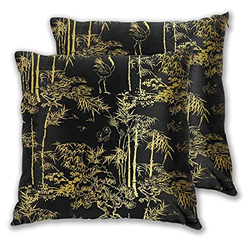 LONSANT Juego de 2 Fundas de Cojín,Bamboo Bird Crane Tree Diseño de patrón Chino japonés Oro Negro,Decorativa Cuadrado Suave Funda de Almohada Sofá Sillas Cama Decoración para Hogar