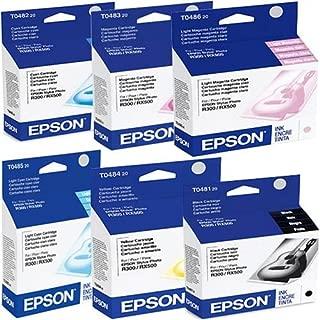 Epson T048 (T048120-T048620) OEM Genuine Inkjet/Ink Cartridges Combo for Epson Stylus Photo Inkjet Printers, Pack of 6
