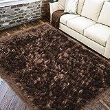 LOCHAS Ultra Soft Fluffy Rugs Faux Fur Sheepskin Area Rug for Bedroom Bedside Living Room Carpet Nursery Washable Floor Mat, 3x5 Feet Brown