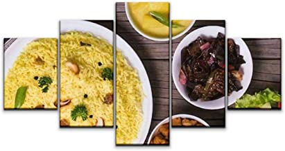 5 Panels Wall Canvas Prints Pictures, Yellow Rice and Curry or kaha Bath in Wooden Sri Lankan Food Wall Paintings Wall Decor Stretched and Framed Ready to Hang