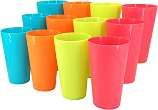 Sponsored Ad - 22-Ounce Plastic Tumblers Set of 12 in 4 Assorted Colors BPA-Free Unbreakable Colorful Drinking Cups