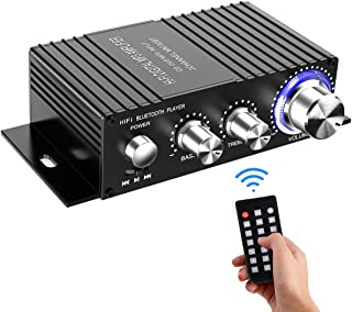 Wireless Bluetooth Stereo Mini Amplifier - 100W Dual Channel Sound Power Audio Receiver USB, AUX for Home Speakers with Remote Control - Power Adapter Not Included