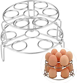 2Pcs/Set Stainless Steel Egg Steamer Rack Stackable Multipurpose Universal Kitchen Cooking Steamer Rack for Pressure Cooker, Instant Pot and and Cooking Pot