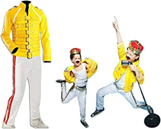 Freddie Mercury Yellow Wembley Concert Kids Costume | Freddie Mercury Leather Pants | Freddie Mercury Leather Jacket