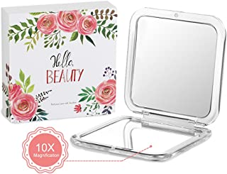 Jerrybox Compact Cosmetic Mirror Pocket Makeup Mirror with 10× Magnification, Handheld Makeup Mirror for Travel
