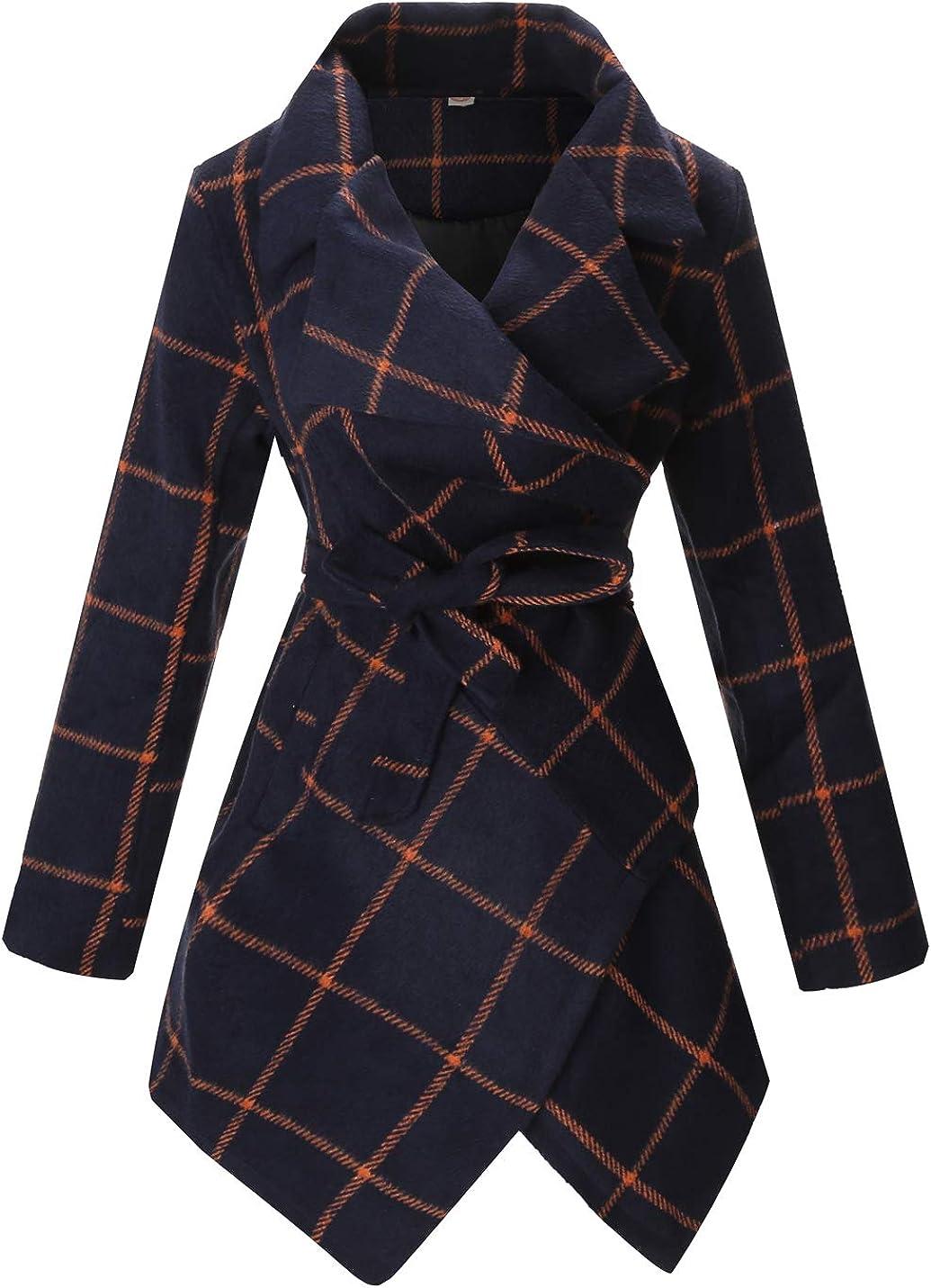PLREOSEVNTE Women's Turn Down Collar Grid Coat Belted Wool Blend Coat Asymmetric Hem Wrap Coat