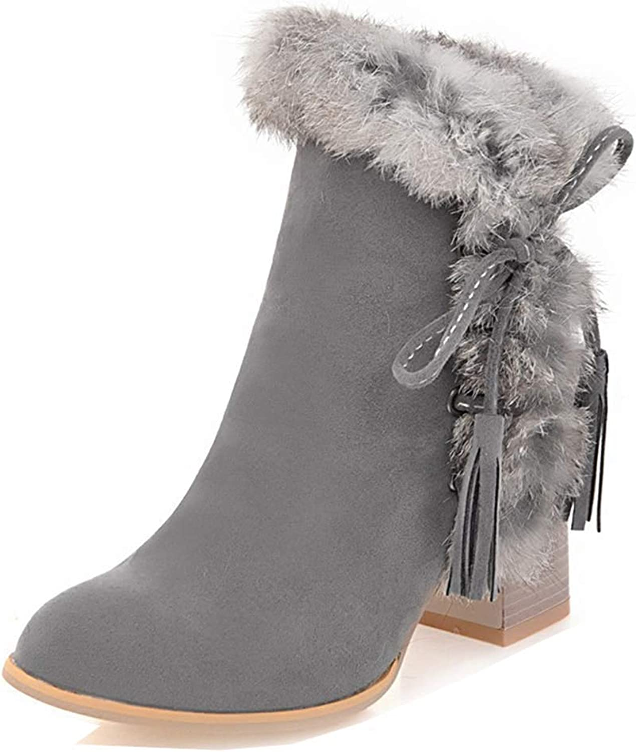 Women's Tassels Furry Round Toe Inside Zip Up High Stacked Heel Ankle Booties with Bows