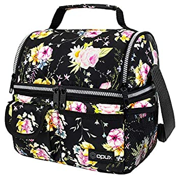 OPUX Insulated Dual Compartment Lunch Bag for Women | Double Deck Reusable Lunch Pail Cooler Bag with Shoulder Strap Soft Leakproof Liner | Large Lunch Box Tote for Work School  Floral Purple