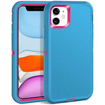 MAXCURY for iPhone 11 Case,Heavy Duty Shock Absorption Full Body Protective Phone Case Without Screen Protector Hard PC Bumper + Soft TPU Rubber Back Cover for iPhone 11 6.1 inch (Teal/Fuchsia)