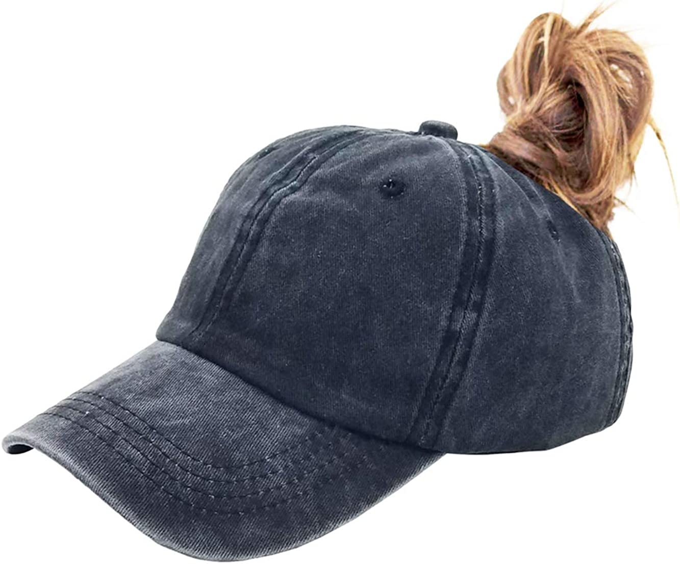 Eohak Ponytail Baseball Hat Distressed Retro Washed Womens Twill