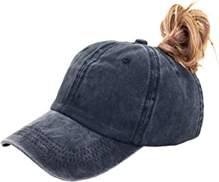 Eohak Ponytail Baseball Hat Distressed Retro Washed Cotton Twill