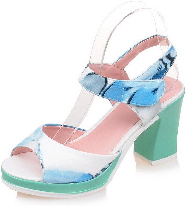 WeenFashion Women's PU Two-Toned Hook-and-Loop Open Toe High-Heels Sandals
