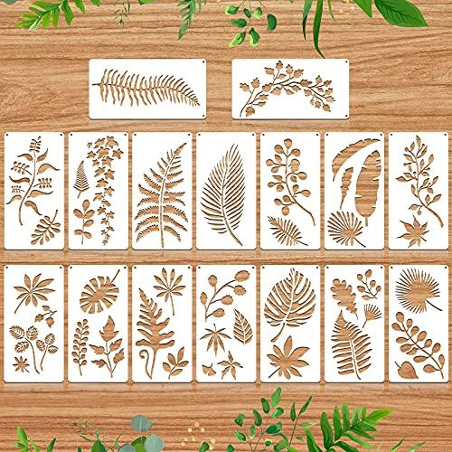 16 Plantillas de Pintura de Hojas Reutilizable Plantilla de Patrón de Hoja de Pared Plantilla de Pintura Reutilizable de Hoja Tropical para Pintar en Pared Piso Madera Muebles Decoración