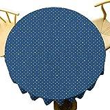 Azul marino Decoración de tela de mesa redonda decoración Nostálgica lunares patrón mezclado con pequeñas estrellas retro moda textura arte decoración uso diario blanco índigo diámetro 71 pulgadas