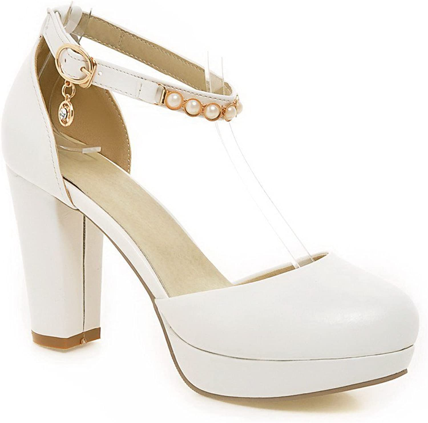 WeenFashion Women's Buckle High Heels Pu Solid Round Closed Toe Pumps shoes