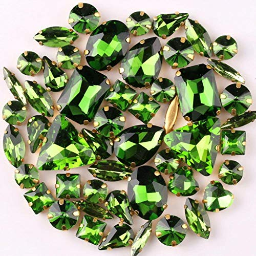 Ajuste de garra de oro 50 unids/bolsa formas mix clear jelly candy AB cristal de vidrio coser en diamantes de imitación zapatos de vestir de boda bolsos diy trim