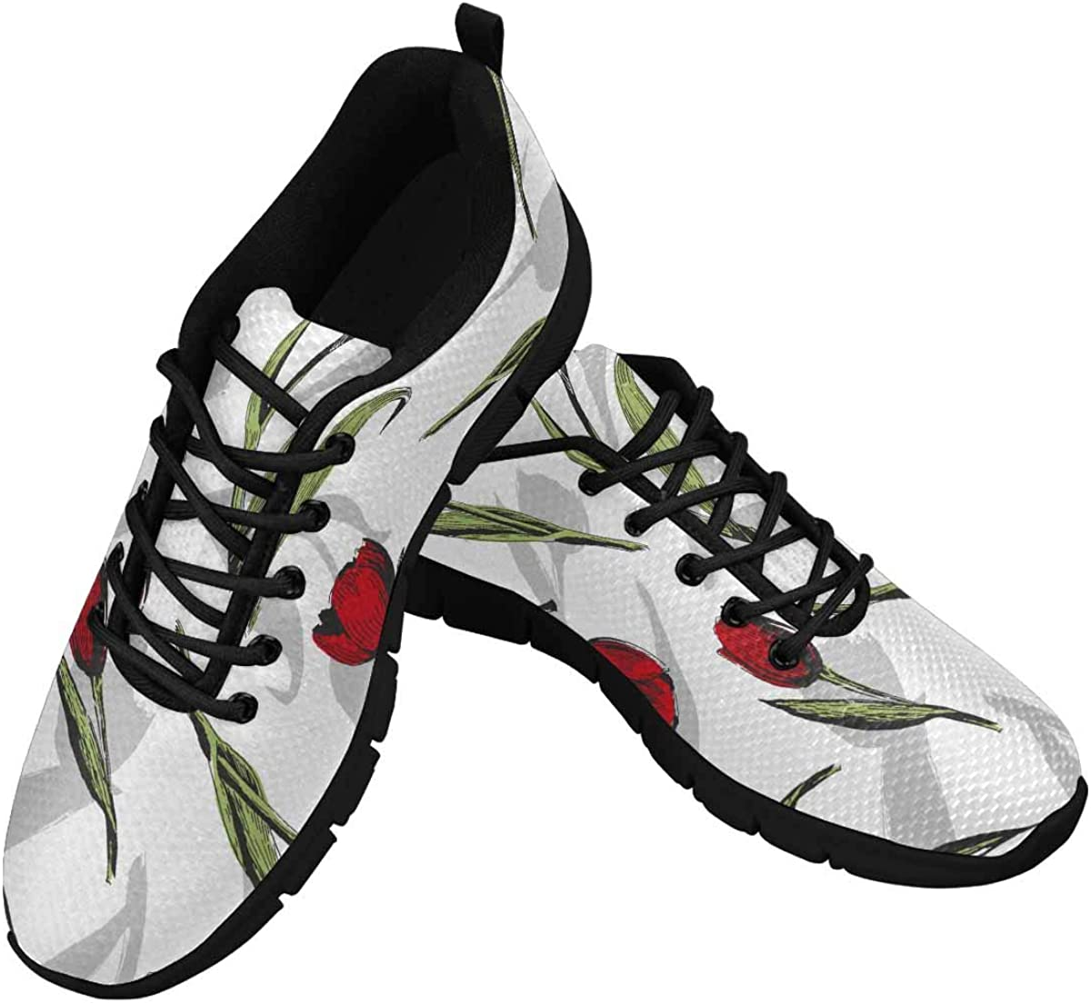 INTERESTPRINT Floral Flower Pattern Tulips Women's Lace Up Breathable Non Slip Sneaker