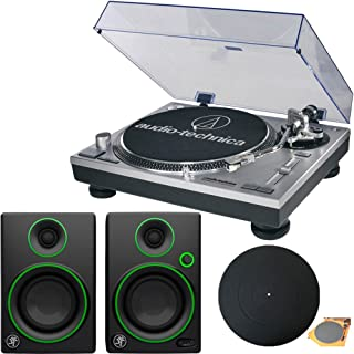 Audio-Technica AT-LP120-USB Direct-Drive Professional Turntable in Silver w/ Mackie CR Series CR3 3