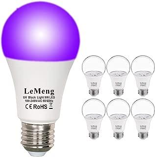 LeMeng UV LED Black Lights Bulb 9W Purple A19 (60W 75Watt Equivalent), E26 Medium Base 120V, UVA Level 395-400nm, Glow in The Dark for Blacklights Party, Body Paint, Fluorescent Poster- 6 Pack