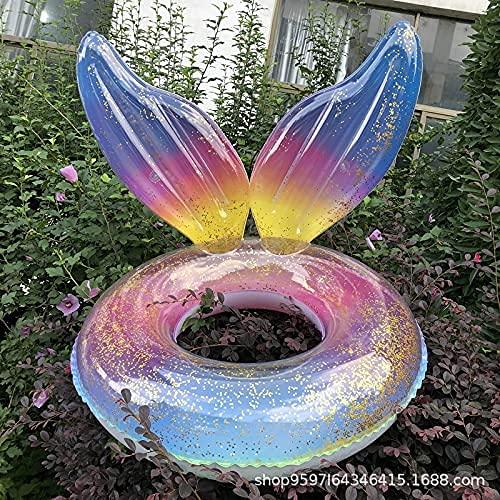 2021 Nuevas alas de la Sirena Inflable de la ampolla de la ampolla de la ampolla de la Lentejuelas de la Cola del Anillo de la axila del Anillo Colorido del Anillo Flotante de la Cola 90 cm WTZ012