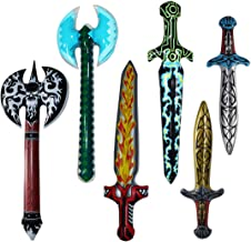 Inflatable Pretend Play Pirate Swords Axe for Boys Halloween Party Supplies Set of 6