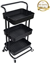 Best Buy Box 3-Tier Rolling Storage Cart,Utility Cart with Wheels, Storage Organizer Metal Cart with Mesh Basket and Handle,Trolley for Office,Bathroom or Bedroom,Black