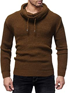 Nansiche Mens Pullover Sweater Slim Fit Knitted Pullover Turtleneck Long Sleeve Sweater