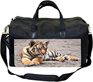 InterestPrint Unisex Duffel Bag Carry-on Bag Overnight Bag Weekender Bag Cat or Dog White Paw Blue