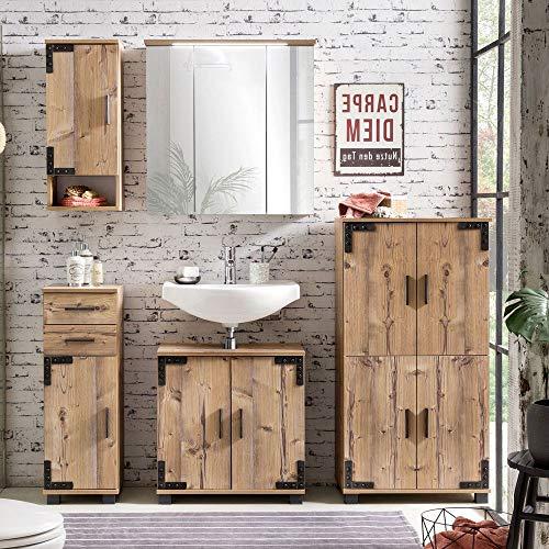 Lomadox Badezimmermöbel Komplett-Set mit Holzoptik in Silbereiche Nb, Waschbeckenunterschrank mit Siphonausschnitt, LED-Spiegelschrank mit Steckdose, 4-türiges Highboard, Unterschrank & Hängerschrank
