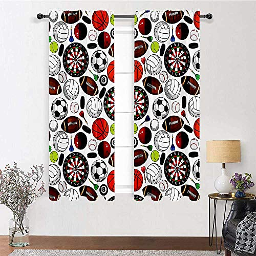 """Window Curtain Panel Soundproof Window Curtain Panels Pattern with Billiards Balls Hockey Pucks Darts Arrows and Target Boards Image for Kids Girls Bedroom 2 Rod Pocket Panels, 42"""" W x 45"""" L"""