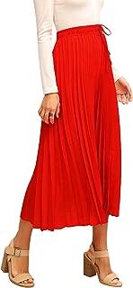 Women's Boho Pleated Drawstring High Waisted Midi Long Skirts