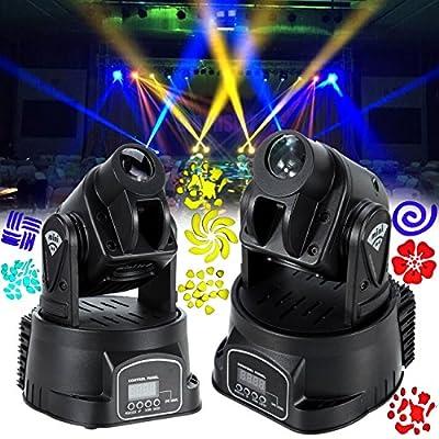 Ridgeyard 2Pcs 15w RBG Moving Head Light Mini Party Dj Disco Club Sopt Washlight Led Display Menu with Invert Advanced Operating Modes