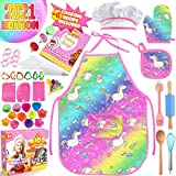 Cheffun Unicorn Baking Toy for Girls - Child Cooking Utensils Tools Kits Toddler Kids Dress Up Pretend Role Play Food Accessories Kids Apron Arts and Crafts Supplies 13 Years Old