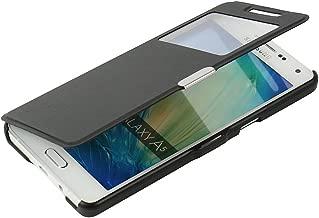 Negro MG2-BK 2015 Doble Ventana Vista Cierre Magnetico Ultra Folio Flip Twill Tela Asargada PU Cuero Delgado Piel Carcasa MTRONX para Funda Samsung Galaxy A5