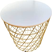 serving table and round service of coffee - wooden surface and metal legs (Gold)