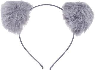 Lux Accessories Halloween Girls Fun Grey Faux Fur Pom Pom Ball Cat Ear Panda Costume Puff Headband