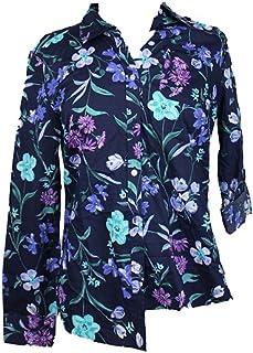 بلوزة Charter Club Blue Combo Roll-Tab Floral Print