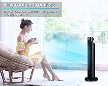 Tower Fan - Quiet Oscillating Cooling Fan with LED Display and Timer Built-in 3 Modes and Speed Settings - Remote Controlled