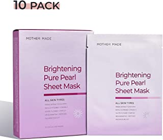 MOTHER MADE Brightening Pure Pearl Full Face Sheet Masks with Radiance Boosting Pearl Extract (5,000 ppm), Whitening Vitamin C, Anti-aging Peptides, for Uneven Dull Dry skin, Paraben-free, 10 Pack