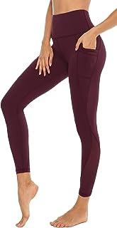 Persit Damen Sport Leggings mit Taschen - Blickdicht Lange Sporthose mit Mesh-Einsätzen