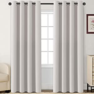 Flamingo P Blackout Curtains 84 Inch Length 2 Panles Set Thermal Insulated Light Blocking Soft Thick Grommet Curtain Drapes for Bedroom/Living Room Home Decoration Window Draperies, Stone