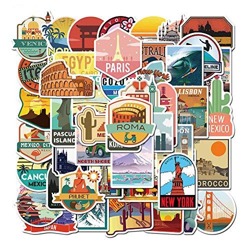 Garretlin - Pegatinas decorativas para pared, diseño de paisajes, para maletas, para portátil o portátil, 50 unidades, color multicolor