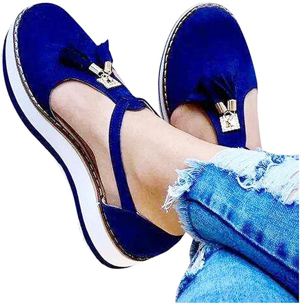 Hbeylia Platform Walking Shoes For Women Ladies Fashion Casual Tassel T-Straps Closed Round Toe Chunky Bottom Heeled Slip On Loafers Ballet Flats Thick Soles High Heels Sneakers For Beach Travel