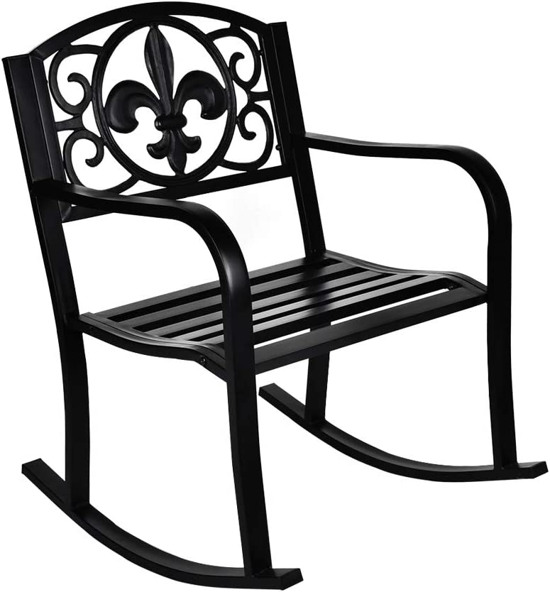 GIODIR Outdoor Patio Rocking We OFFer at cheap prices Chair Metal D Limited price sale for seat