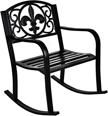 GIODIR Outdoor Patio Rocking Chair, Metal Rocking seat for for Deck, Backyard or Garden w/Scroll Design (Black)