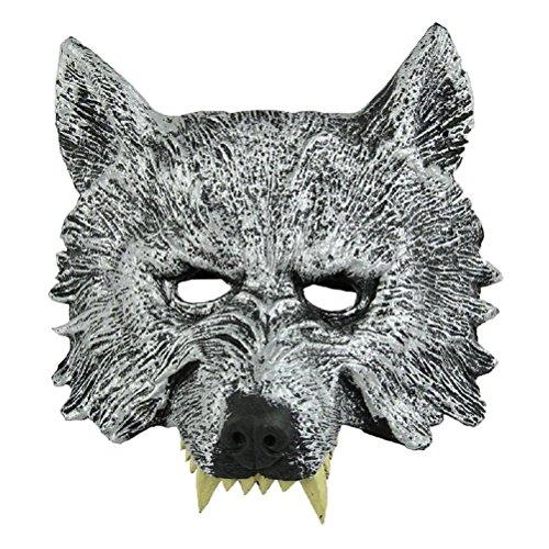 TOOGOO(R)) Gris Mascara de Cabeza de Lobo para Cosplay Halloween Mascarada