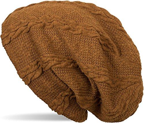 styleBREAKER warme Feinstrick Beanie Mütze mit Zopfmuster und Fleece Innenfutter, Slouch Longbeanie, Unisex 04024131, Farbe:Cognac