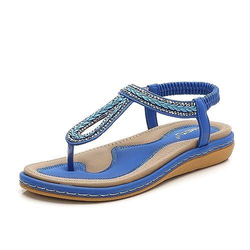 f8ec70ef19d3 Meeshine Women s Bohemia Flip Flops Summer Beach T-Strap Flat Sandals  Comfort Walking Shoes