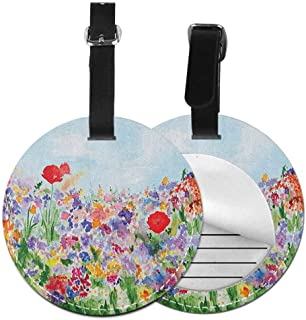 Waterproof round luggage tag Watercolor Flower Suitable for children and adults Floral Summer Garden with Grass and Blooms Love Illustration Print,Diameter3.7