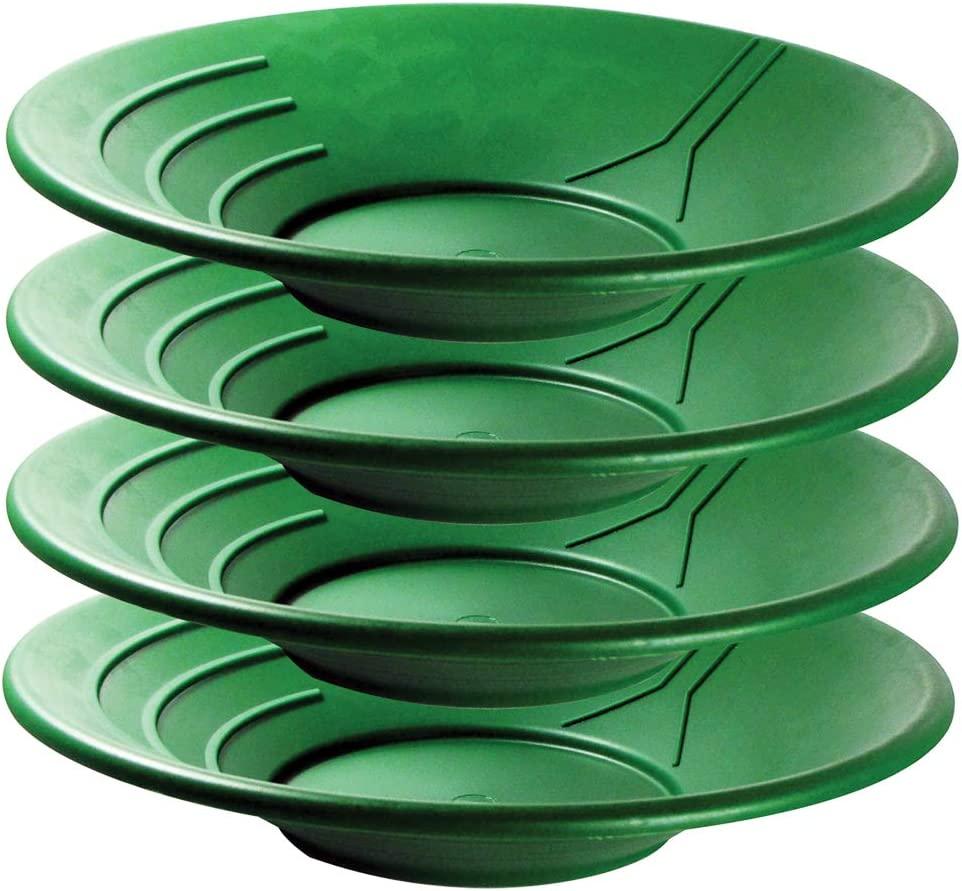"""SE Green 14"""" Plastic Gold Quality inspection 4-Pack - GP1002G-4 Pans 1 year warranty"""